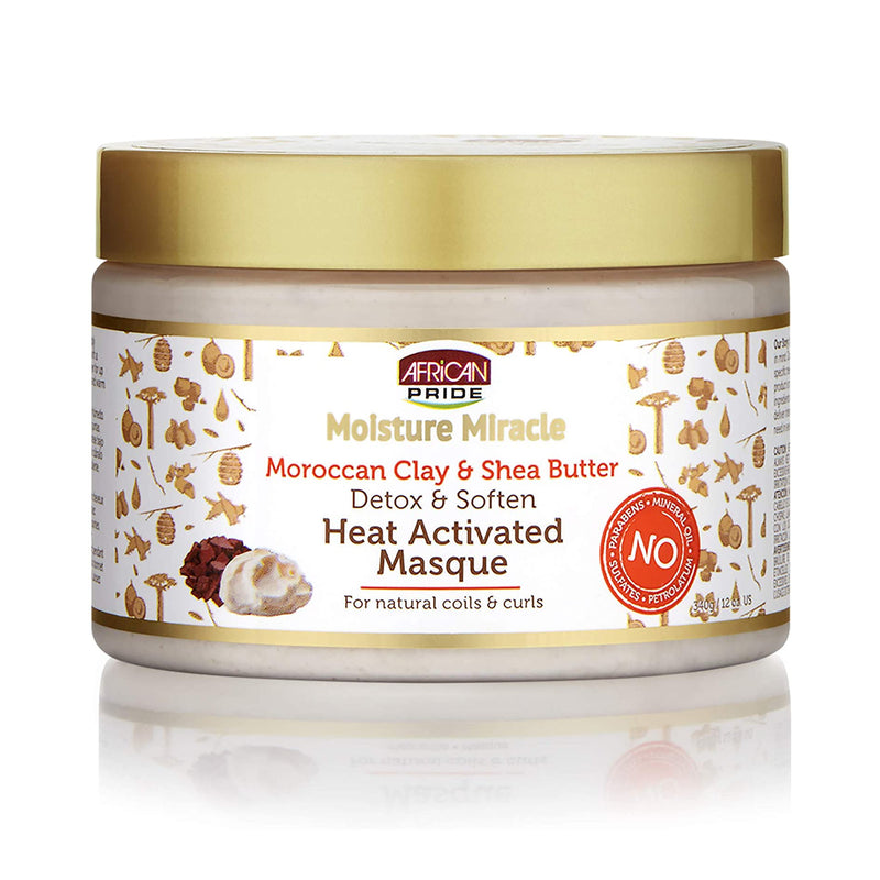 African Pride Moroccan Clay & Shea Butter Heat Activated Masque 340g- AQ Online