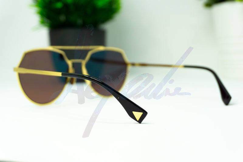 Blue Tinted Light Weight Gold Metal Frame Aviator Style Sunglasses - Afroquarter