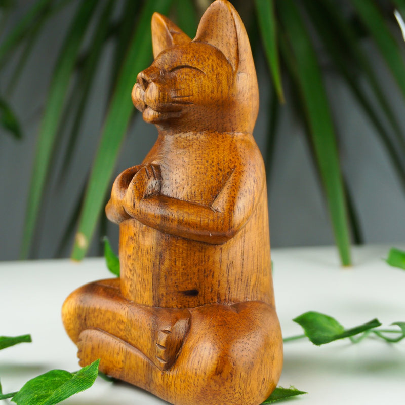 Cool Wooden Yoga Cat Incense Burner - Afroquarter