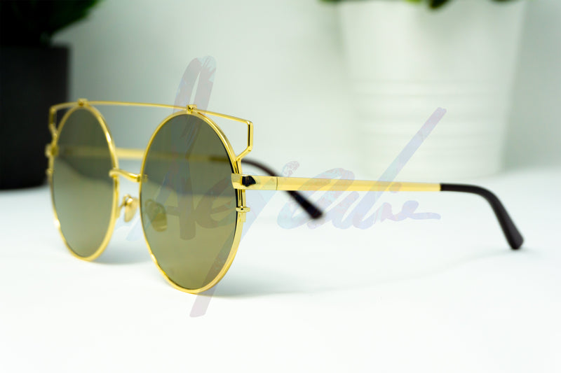 """Atlas"" Gold Metal Frame Round Sunglasses - Afroquarter"