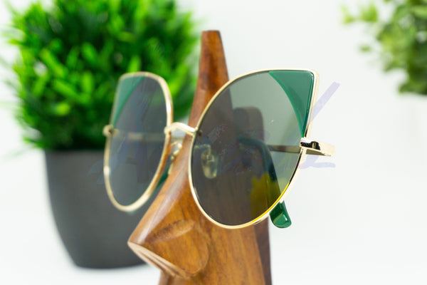 """Ivy"" Green Detailed Cat Eye with Coloured Corner Sunglasses - Afroquarter"