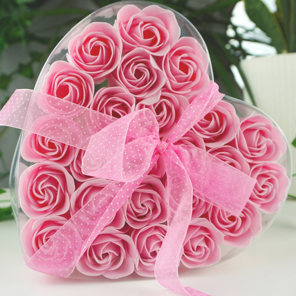 Pink Soap Flower Heart Box- Set Of 24 -  Afroquarter