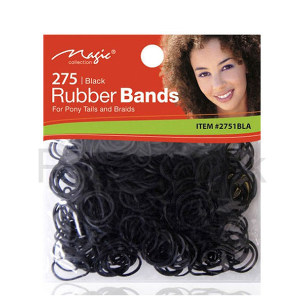 Magic 275 Black Rubber Bands For Hair and Pony Tails