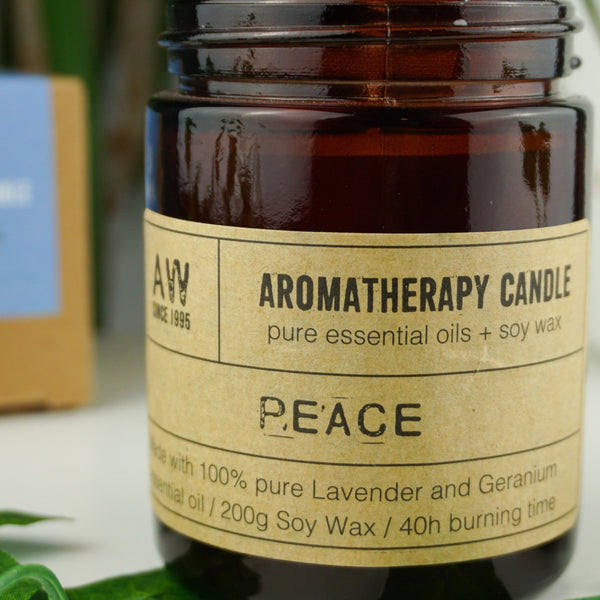 """Peace"" 100% Lavender & Geranium Essential Oil Soy Wax Candles 200g - Afroquarter"
