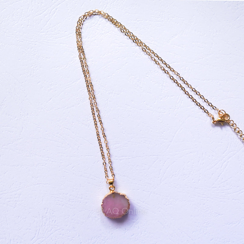 Pink Shell Necklace with Gold Tone Adjustable Chain - AQ Online