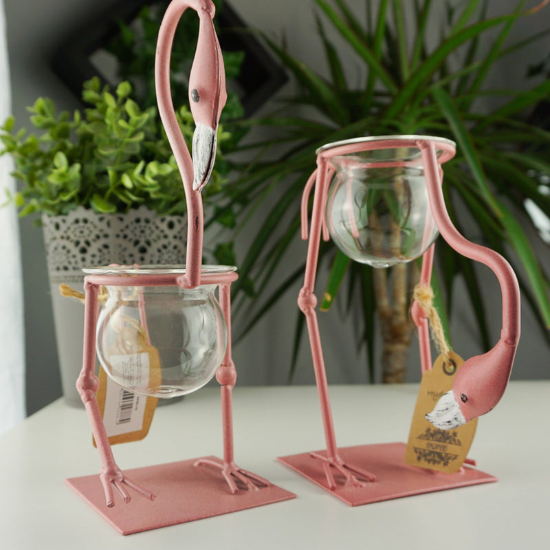 Pink Metal Flamingo Hydroponic Home Decor