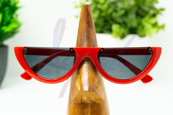 Red Half Frame Cat Eye Sunglasses - aqnline