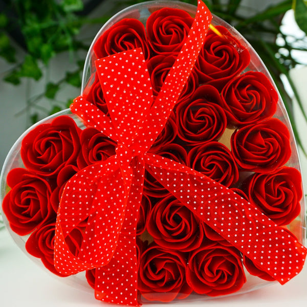 Red Roses Soap Flower Heart Box- Set Of 24 - Afroquarter