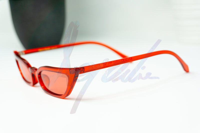 """Spicy"" Red Thin Cat Eye Sunglasses - Afroquarter"