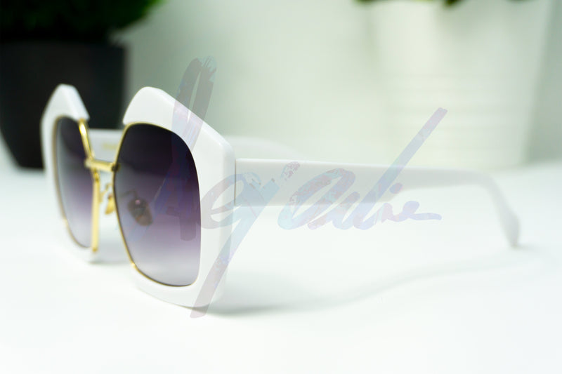 Retro Semi Rimless Square Sunglasses White/Grey - aqnline