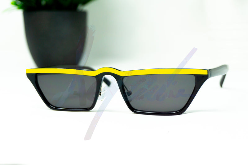 Small Square Yellow Strip Sunglasses - aqnline