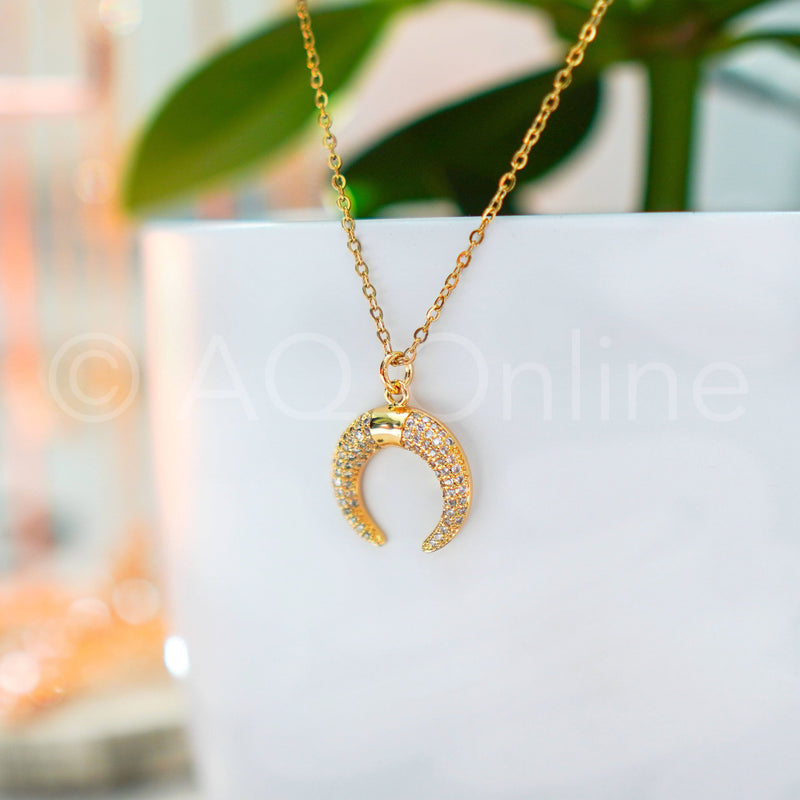 Titanium Stainless Steel Gold Plated Crescent Necklace