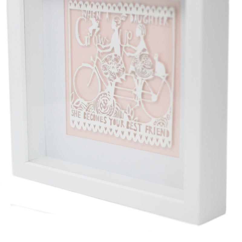 """ When A Daughter Grows Up"" White Paper Cutout Picture Frame - Afroquarter"