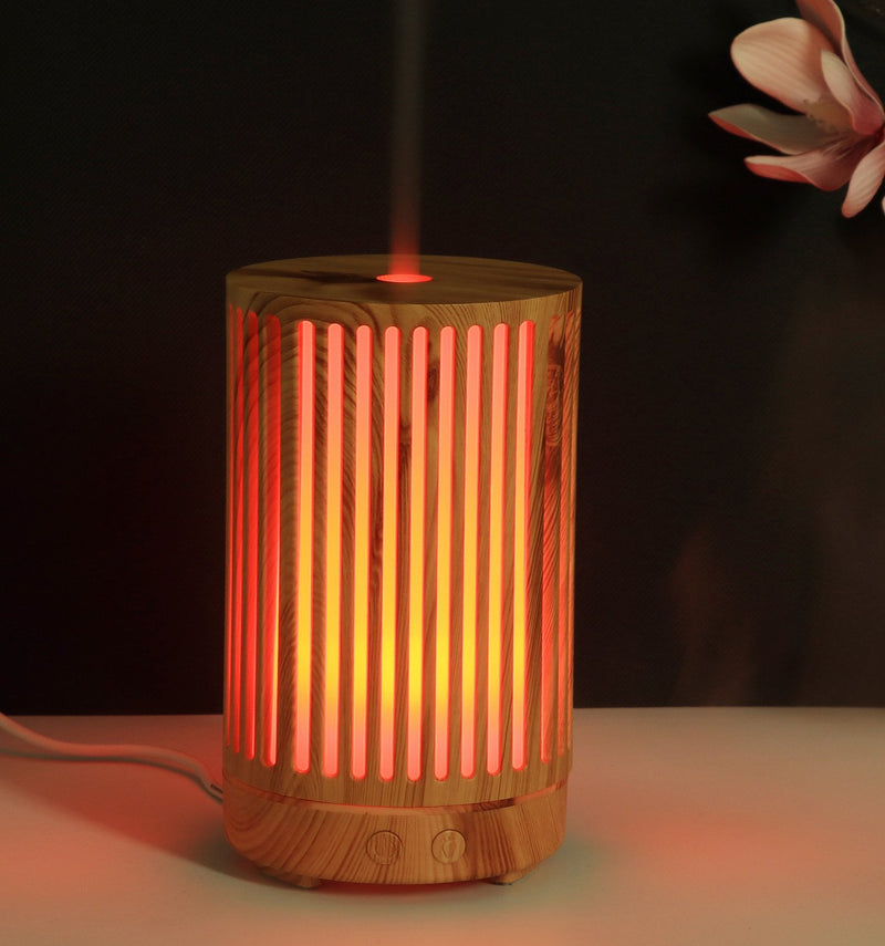Bamboo Tall Lines Essential Oils Dome Diffuser - 7 LED Colours & Timer - AQ Online