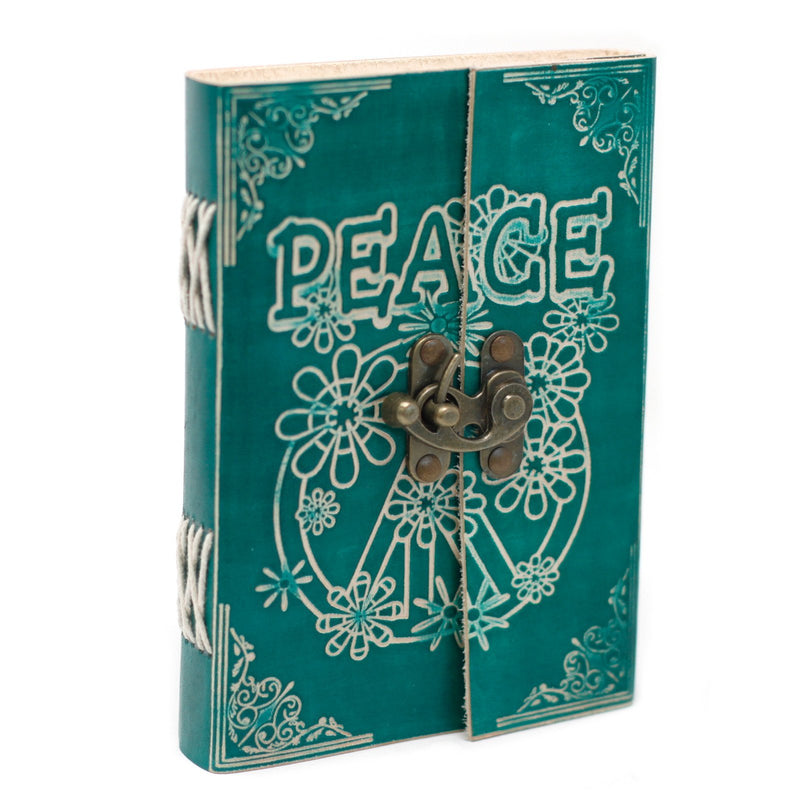 "Green ""Peace"" Leather Notebook With Lock - AQ Online"