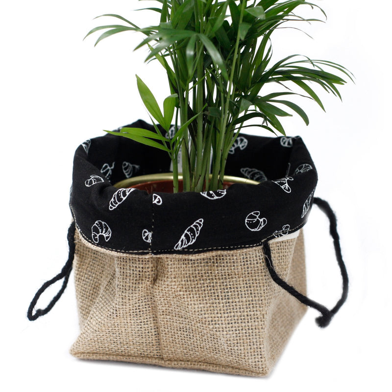 Medium Natural Jute Cotton Bag With Black Lining For Plant Pots & Storage - AQ Online