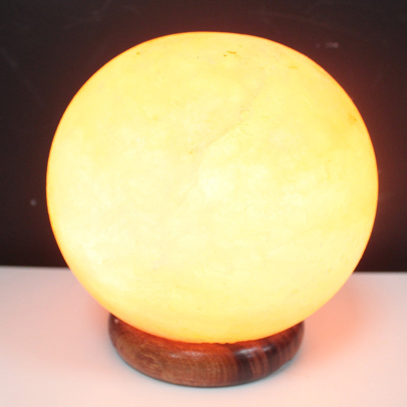 Round Ball Natural Himalayan Salt Lamp On Big Wooden Base 4kg - AQ Online