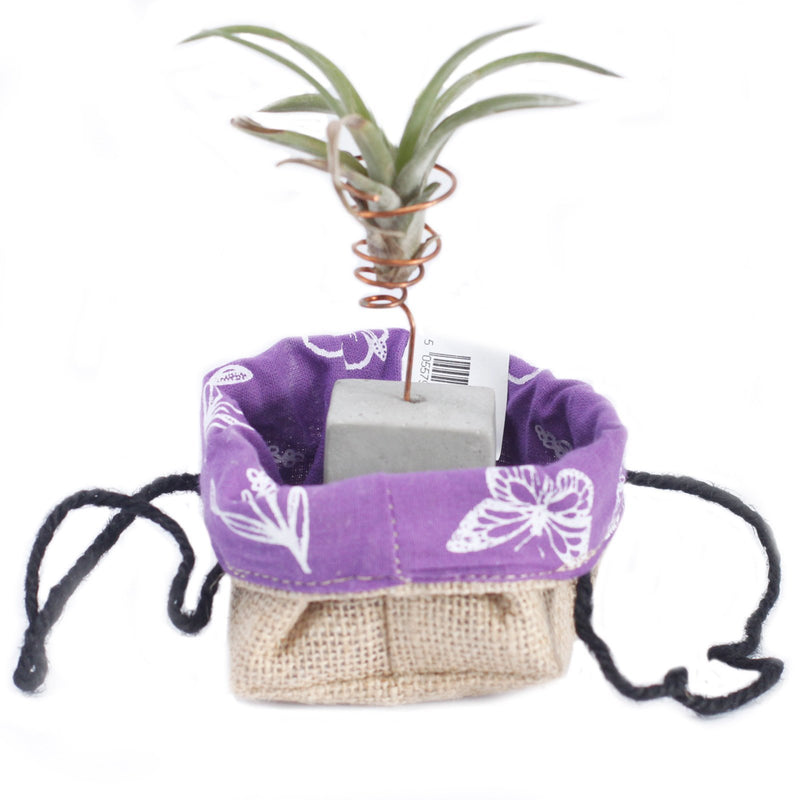 Small Lavendar Natural Jute Cotton Bag With Black Lining For Storage - AQ Online