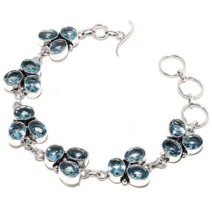 Blue Topaz Gemstone Handmade Jewelry Bracelet 7-8 Inches RB101