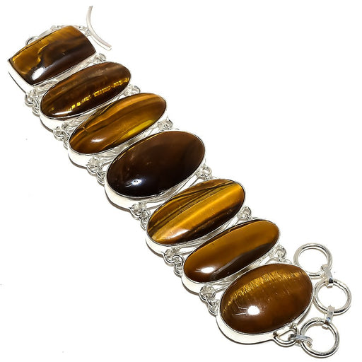 Tiger'S Eye Gemstone Handmade Jewelry Bracelet 7-8 Inches RB1020