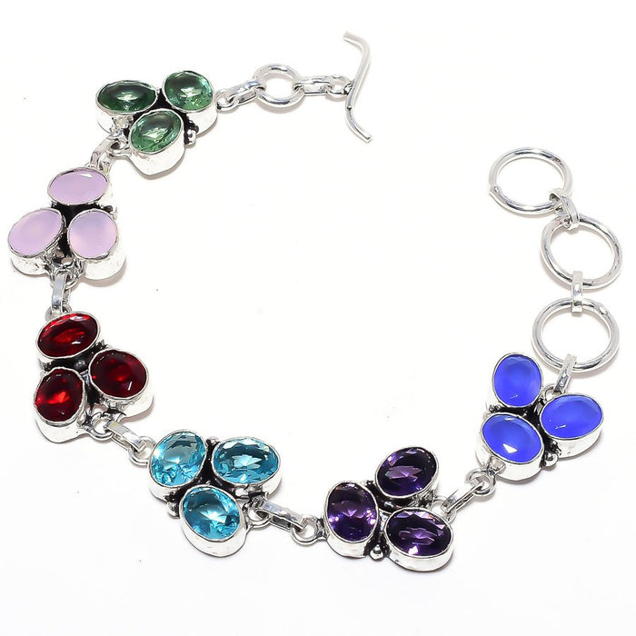 Faceted Multi Gemstone Gemstone Jewelry Bracelet 7-8 Inches RB105