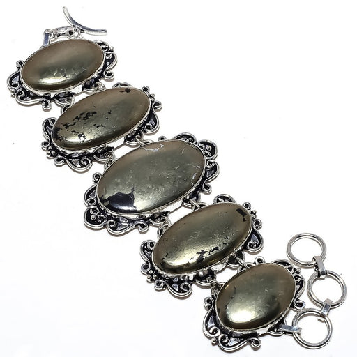 Apache Pyrite Gemstone Handmade Jewelry Bracelet 7-8 Inches RB1061
