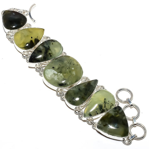 Moss Prehnite Gemstone Handmade Jewelry Bracelet 7-8 Inches RB1075