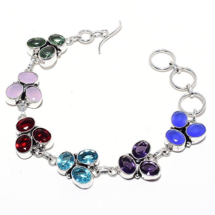 Faceted Multi Gemstone Jewelry Bracelet 7-8 Inches RB108