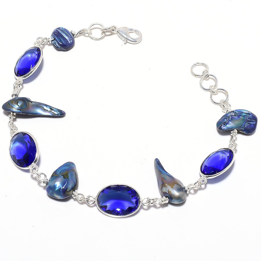 Blue Sapphire, Biwa Pearl Ethnic Jewelry Bracelet 7-8 Inches RB110