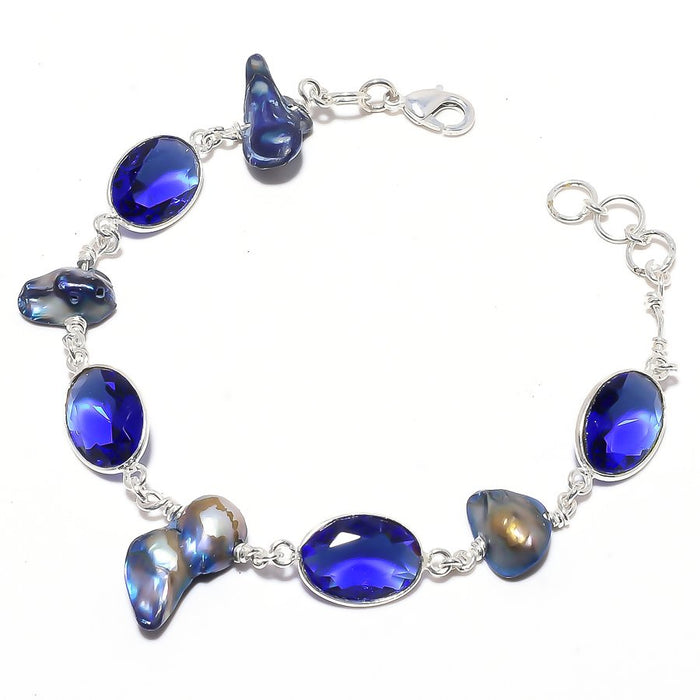 Blue Sapphire, Biwa Pearl Ethnic Jewelry Bracelet 7-8 Inches RB113