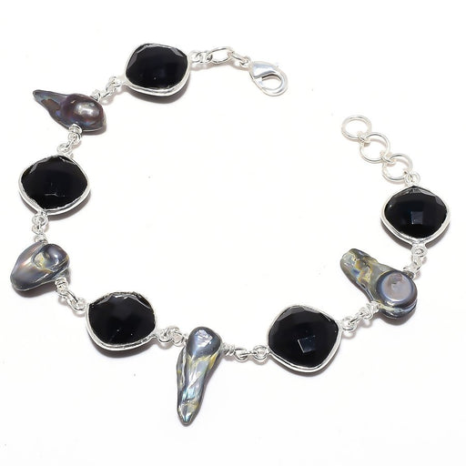 Black Onyx , Biwa Pearl Gemstone Jewelry Bracelet 7-8 Inches RB114