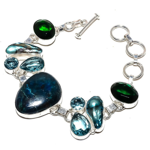 Chrysocolla, Blue Topaz Ethnic Jewelry Bracelet 7-8 Inches RB1159
