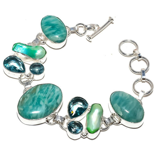 Amazonite, Blue Topaz Gemstone Jewelry Bracelet 7-8 Inches RB1161
