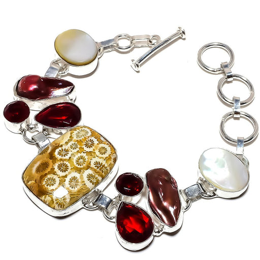 Fossil Coral, Garnet Gemstone Jewelry Bracelet 7-8 Inches RB1163