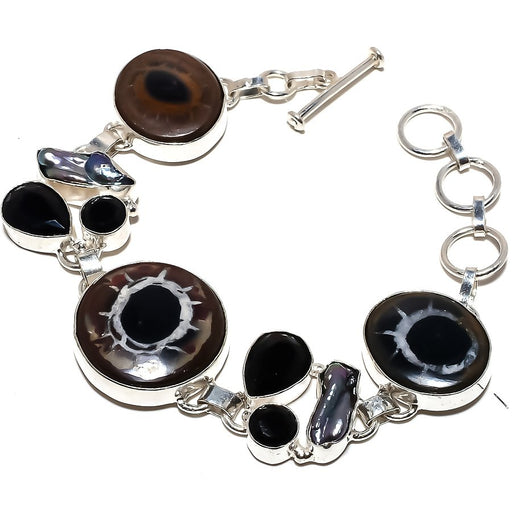 Mud Crack Fossil, Black Onyx Jewelry Bracelet 7-8 Inches RB1176