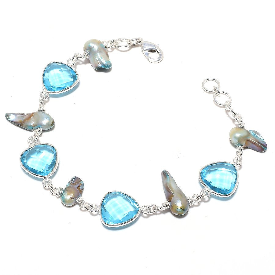 Blue Topaz, Biwa Pearl Gemstone Jewelry Bracelet 7-8 Inches RB117