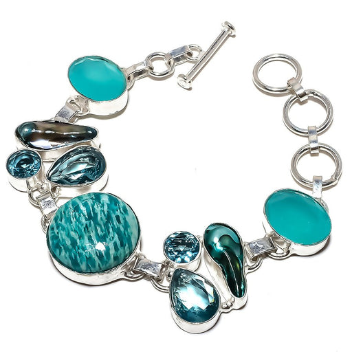 Amazonite, Apatite Gemstone Jewelry Bracelet 7-8 Inches RB1185