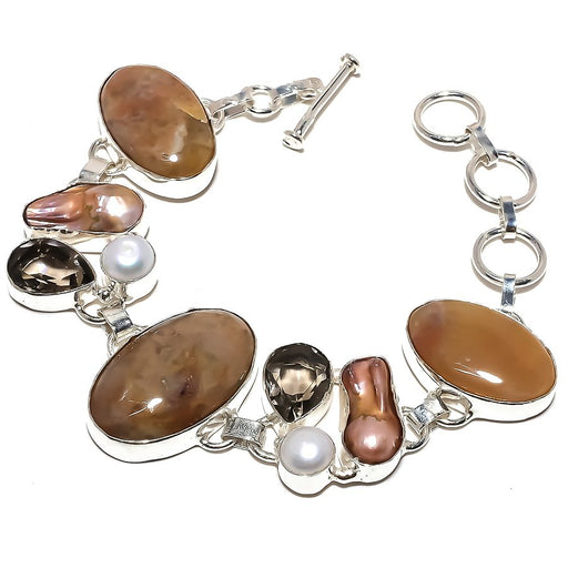 Honey Opal, Biwa Pearl Gemstone Jewelry Bracelet 7-8 Inches RB1191