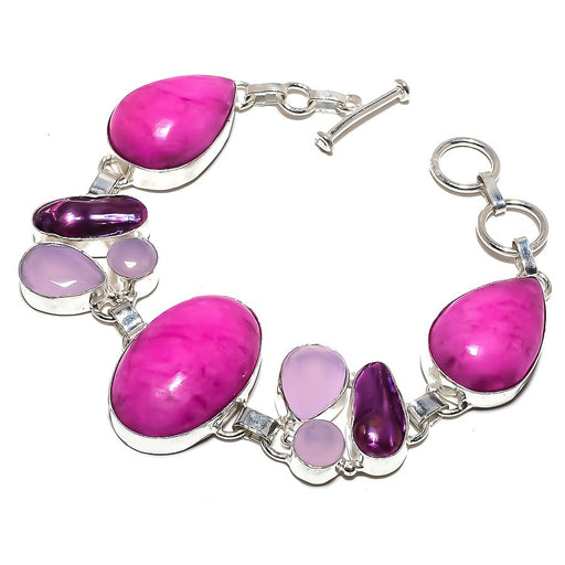 Pink Opal, Pink Jade Gemstone Jewelry Bracelet 7-8 Inches RB1198