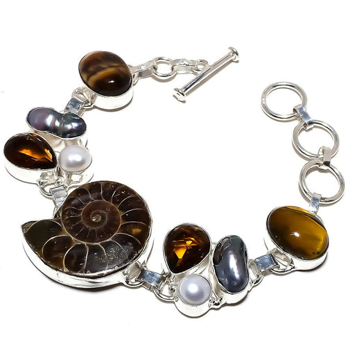 Ammonite Fossil, Tiger'S Eye Jewelry Bracelet 7-8 Inches RB1211