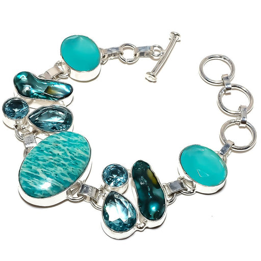 Amazonite, Chalcedony Gemstone Jewelry Bracelet 7-8 Inches RB1213