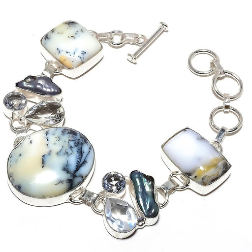 Dendrite Opal, White Topaz Jewelry Bracelet 7-8 Inches RB1214