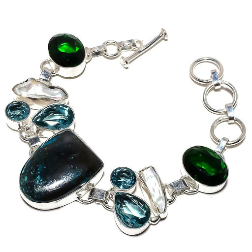 Chrysocolla, Multi Gemstone Jewelry Bracelet 7-8 Inches RB1218