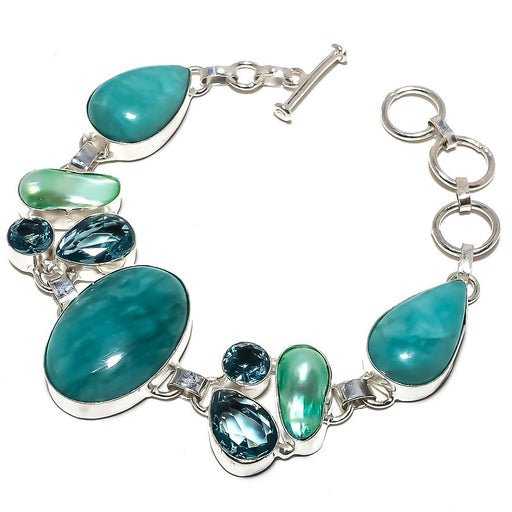 Amazonite, Aqua Apatite Ethnic Jewelry Bracelet 7-8 Inches RB1219
