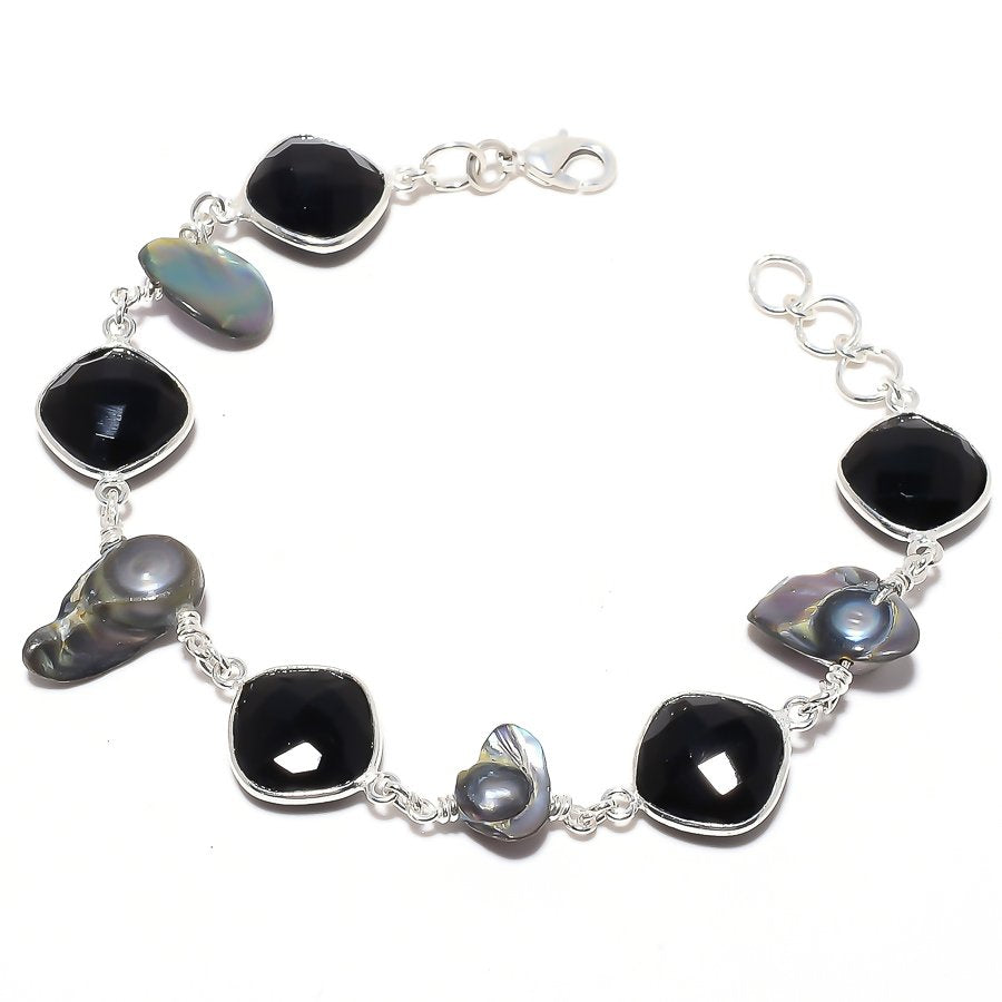 Black Onyx , Biwa Pearl Gemstone Jewelry Bracelet 7-8 Inches RB121