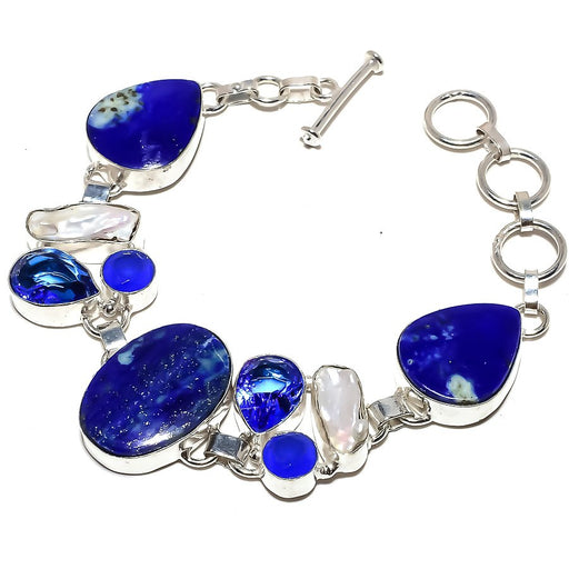 Lapis Lazuli, Tanzanite Quartz Jewelry Bracelet 7-8 Inches RB1222
