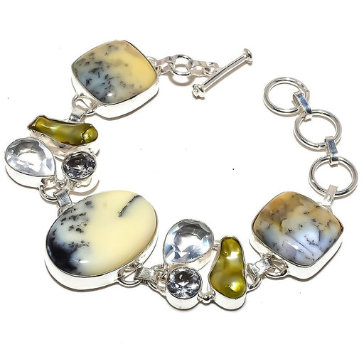 Dendrite Opal, White Topaz Jewelry Bracelet 7-8 Inches RB1223