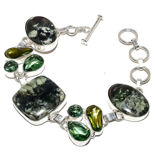 Eudialyte, Peridot Gemstone Jewelry Bracelet 7-8 Inches RB1224
