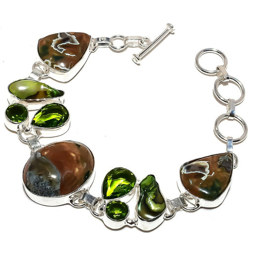 Rainforest Jasper, Peridot Jewelry Bracelet 7-8 Inches RB1226
