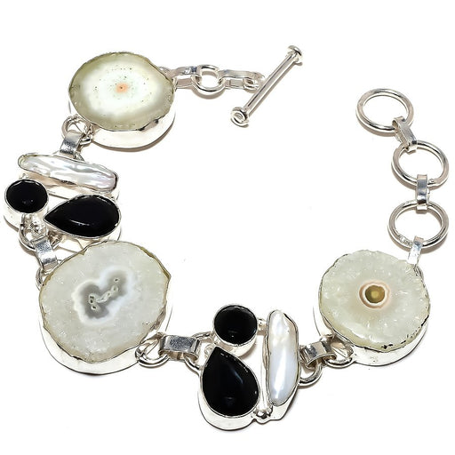 Solar Quartz Druzy, Black Onyx Jewelry Bracelet 7-8 Inches RB1227